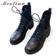 Meotina/Зимние ботильоны; женские полусапожки из натуральной кожи на массивном каблуке; обувь на шнуровке с круглым носком; Женская Осенняя обувь; Размеры 4-10