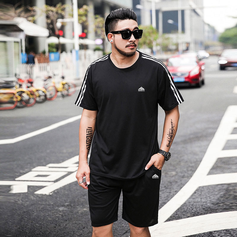 8886 #2019 Summer Men's Large Size Short Sleeve T-shirt Suit Fat Plus-sized Loose Casual Sports Two-Piece Set