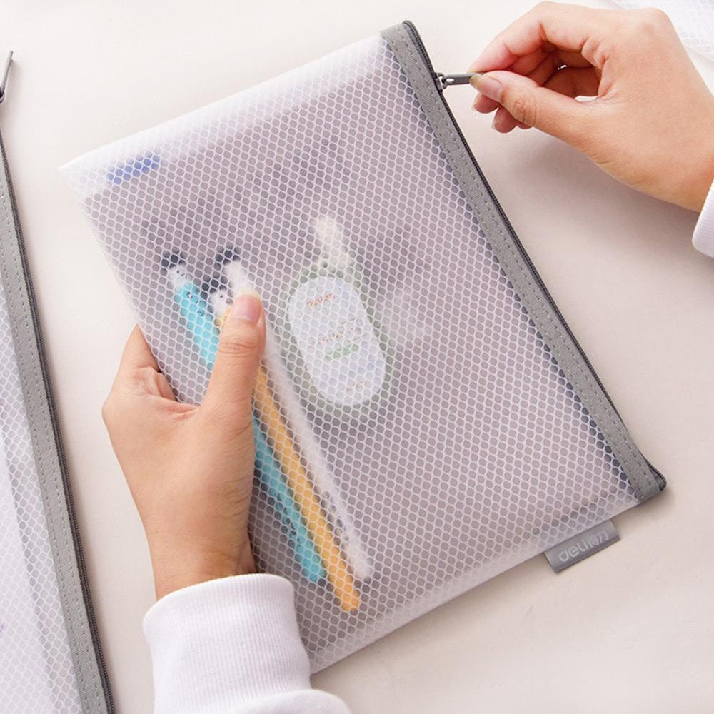 Deli 1PC Office Zipper File Folder Bag A4/A5 Transparent Storage Bag School Office Supplies Children Student Gifts Stationery