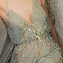 Sexy Lingerie Nightgown Night-Shirts New Caiyier Lace Popular Mint-Green Eyelash Embroidery