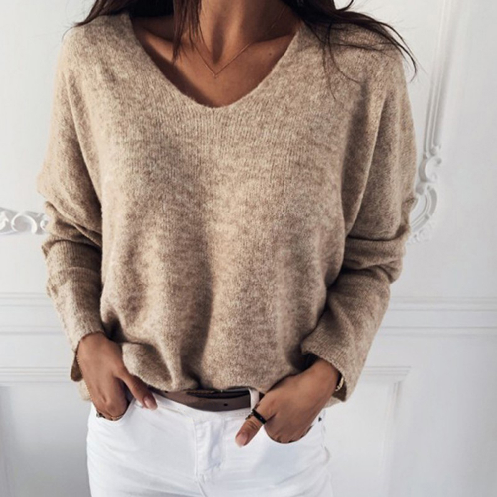 Women Autumn Loose Solid Color V Neck Long Sleeve Plush Pullover Sweater Top 2