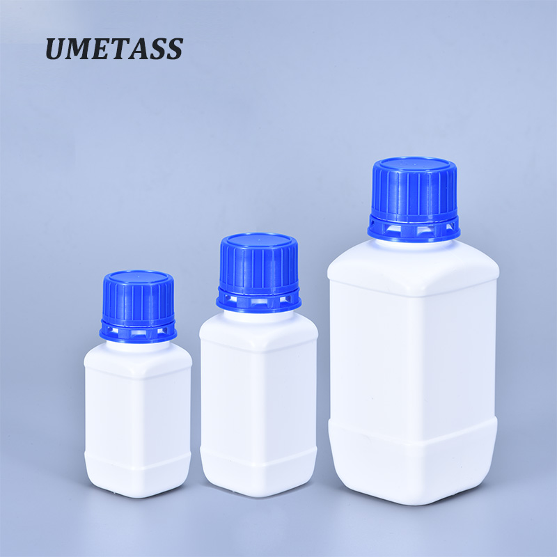 60ML/100ML/250ML Empty Plastic Square Bottle With Blue Lid For Liquid Laboratory Reagent Container HDPE Material