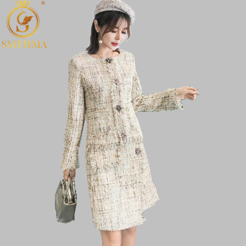 SMTHMA High Quality New Winter Women's Long Sleeve Tweed Wool Jacket +Ladies Two Piece Suit Woolen Tassel Skirt Sets