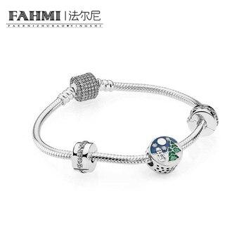 2020 100% 925 Sterling Silver Snowy Wonderland Bracelet Gift Set fit DIY Original charm Bracelets jewelry A set of prices