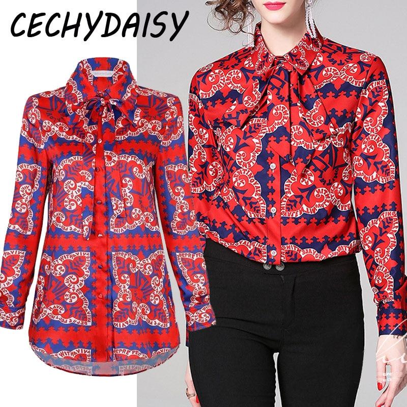 Blouse Shirt Plus Size Women Red Tops Korean Vintage Floral Print Lace Up Bow Collar Chiffon Long Sleeve Clothes blusa feminina