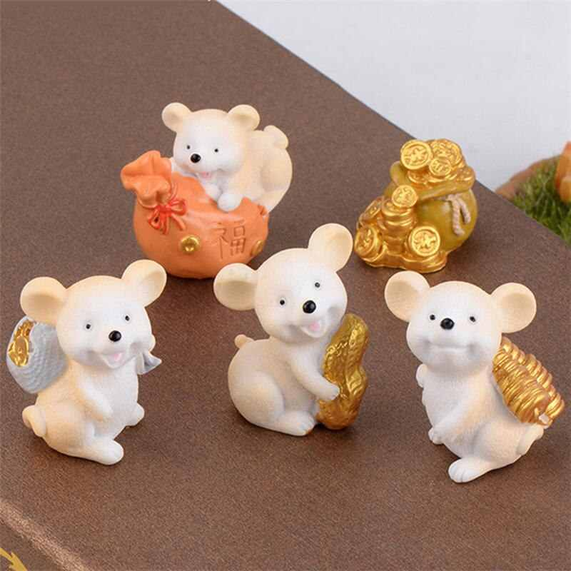 1PC Lucky Money Fortune Cartoon Mouse Ornament Rich Mice Small Statue Little Figurine Crafts Cute Animal Home Desktop Decor