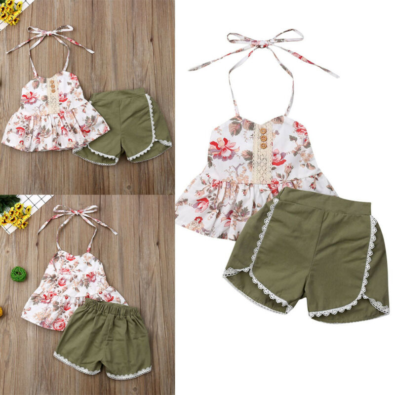 2PCS Toddler Kid Baby Girl Summer Flower Tops Shorts Pants Outfit Clothes Set