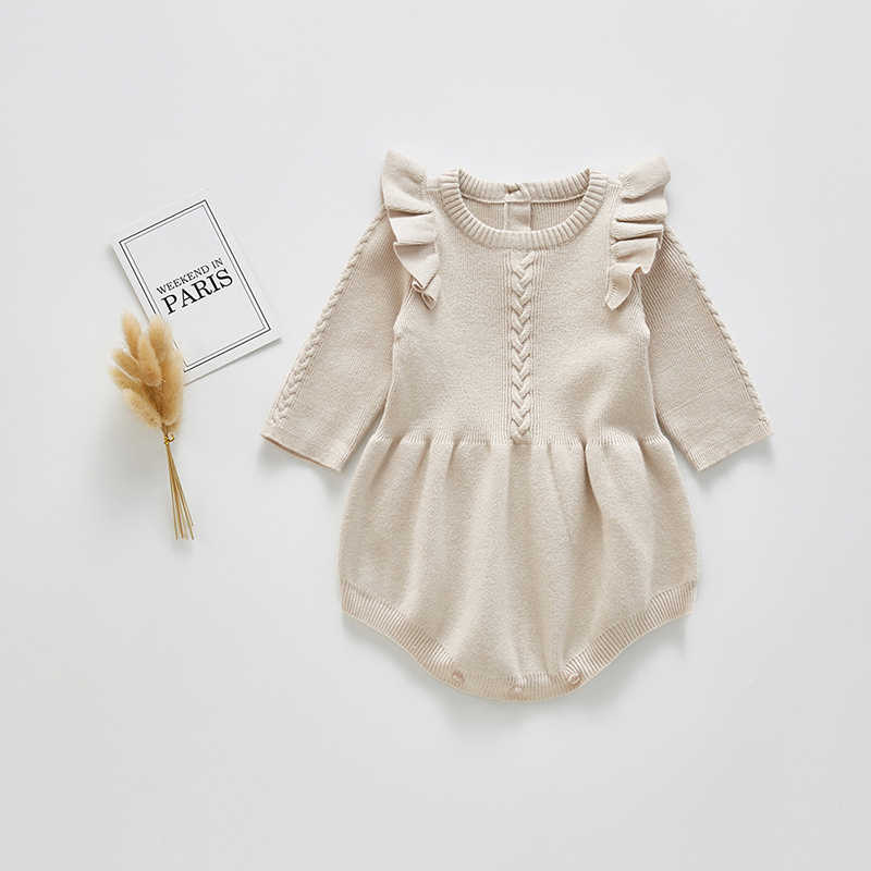 Baby Girls Knitted Bodysuit 2020 Spring Infant Newborn Long Sleeve Solid Ruffled Jumpsuit Outfit Set Baby Spring Autumn Clothing