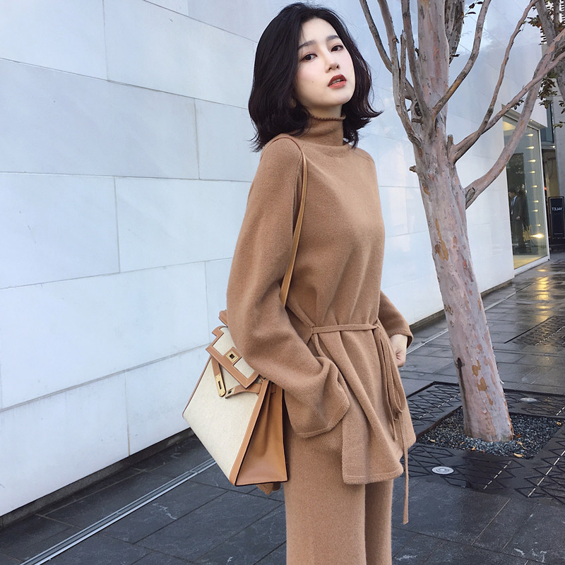 CBAFU S-XL Autumn Winter Knitted Women Suit 2 Piece Set Solid Color Turtleneck Sweater Knitted Pants Suit Pullover Sets N892