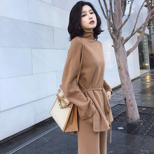 CBAFU S XL autumn winter knitted women suit 2 piece set solid color turtleneck sweater knitted pants suit pullover sets N892