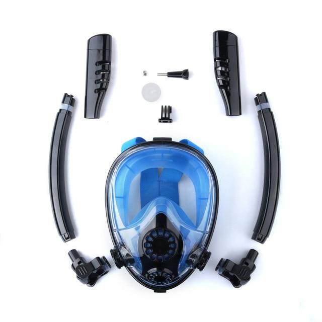 NEW Double Tube Diving Mask Scuba Mask Underwater Anti Fog Full Face Snorkeling Mask Women Men Kids Swimming Snorkel Equipment 1