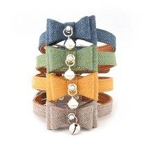 Collar con lazo para gato pequeño, hebilla ajustable, pajarita, Collar de cachorro, Collar pequeño para perro con campanas