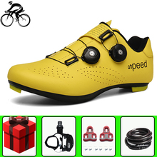 цена Self-Locking Cycling Shoes Men Road Breathable Pro Bike Bicycle Shoes Ultralight Athletic Racing Sneakers Women Zapatos Ciclismo онлайн в 2017 году
