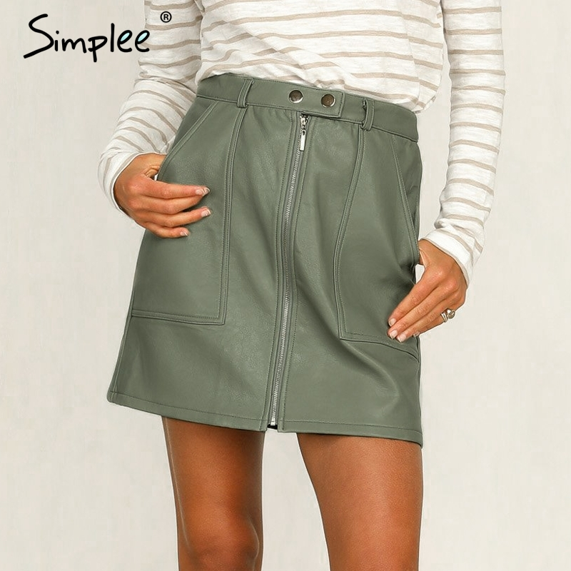 Simplee Vintage Autumn Leather Women Pencil Skirt High Waist Zipper Bodycon Mini Skirt Fashion Pocket Winter Ladies Streetwear
