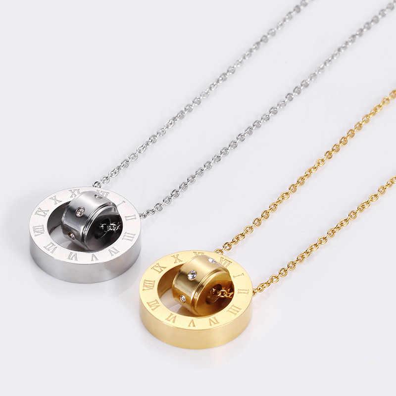 Mewah Merek Perhiasan 316L Stainless Steel Double Loop Cinta/Angka Romawi Kalung Austrian Kristal Cinta Kalung untuk Wanita