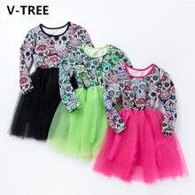 V tree платье для девочек с принтом в виде черепа сетчатые вечерние