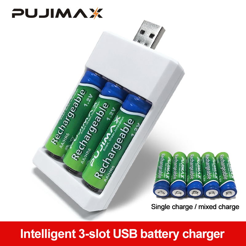 PUJIMAX 3-solt Battery Charger With USB Plug Battery Charger For AA AAA Rechargeable Batteries Universal Power Tool Accessories