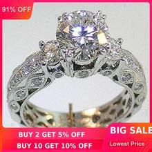 Choucong женское кольцо вечности 7 мм 5A Циркон Камень 14 к белое золото заполненное Женское Обручальное кольцо Sz 5-11 подарок