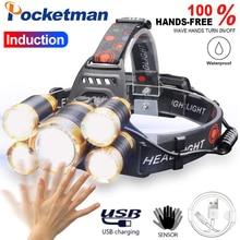 4000 люменов светодиодный налобный светильник с датчиком движения для тела, фонарь светильник для кемпинга с USB, лучший для кемпинга, рыбалки