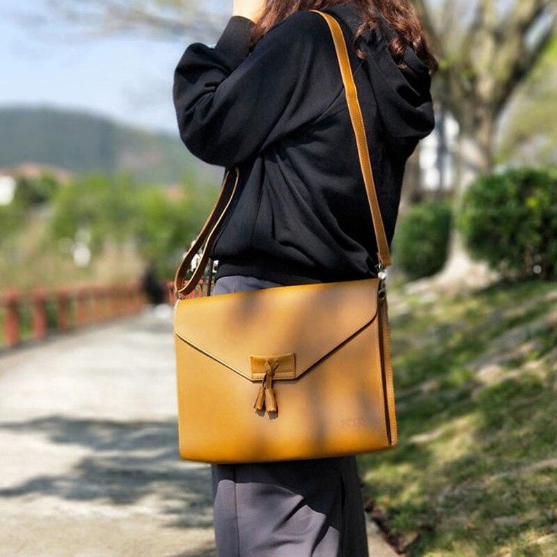 Vintage Literary Tassels Women Shoulder Bag Big A4 Thin Document Envelope Bag Dress OL Fashion Business Briefcase