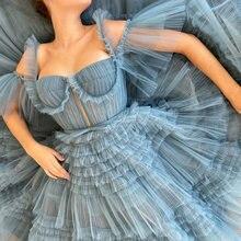 Uzn Элегантное синее платье с овальным вырезом Плиссированное