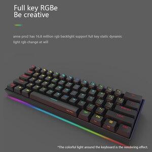 Image 4 - مفاتيح Anne Pro 2 Pro2 60% 61 مفاتيح NKRO بلوتوث 5.0 Type C RGB لوحة مفاتيح ميكانيكية للألعاب مفتاح كرز مفتاح Gateron مفتاح كايل