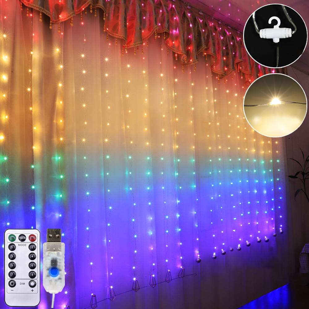 LED Curtain Light Strings USB Fairy Light String 8 Modes Remote Control For Window Bedroom Wall Festival Decorations With Hooks