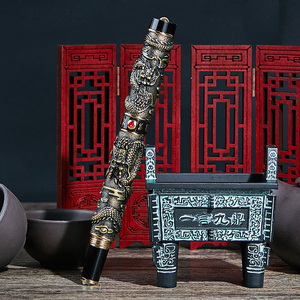 Image 5 - Jinhao Double Dragon / Snake Vintage Luxurious Fountain Pen / Pen Holder Full Metal Carving Embossing Heavy Gift Pen Collection