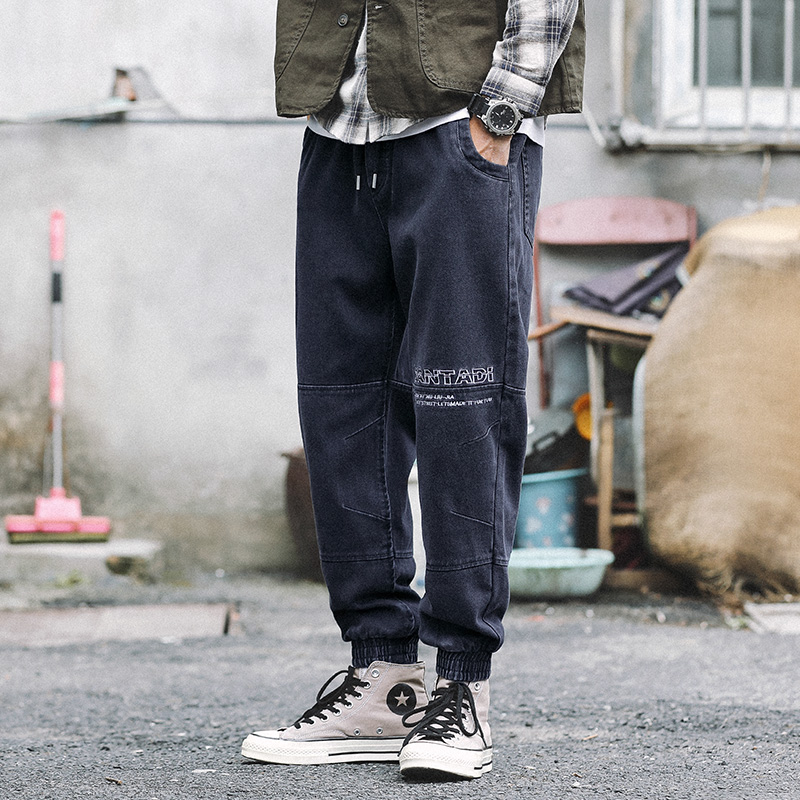 Japanese Style Fashion Men Jeans Vintage Loose Fit Cargo Pants Harem Jeans Spliced Designer Streetwear Hip Hop Joggers Jeans Men