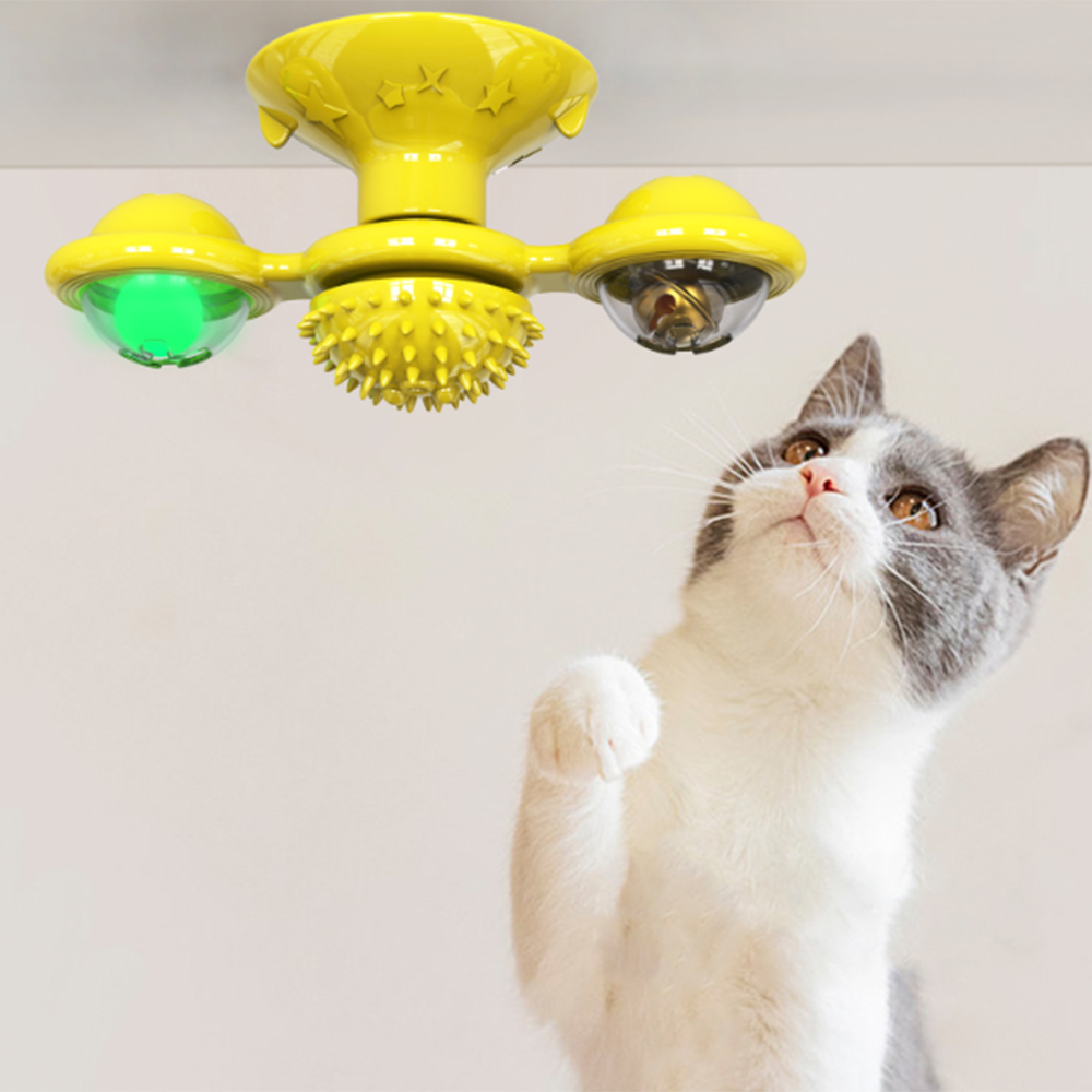 Windmill Cat Toy Cat Brush Self Grooming Brush With Spinning Windmill Cat Brush Suction To Wall Cat Massage Comb Pet Supplies