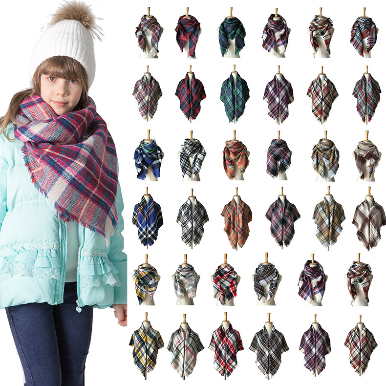 Europe And America Autumn And Winter Children Colorful Plaid Kerchief Faux Cashmere Plaid Scarf Parent And Child Men And Women C