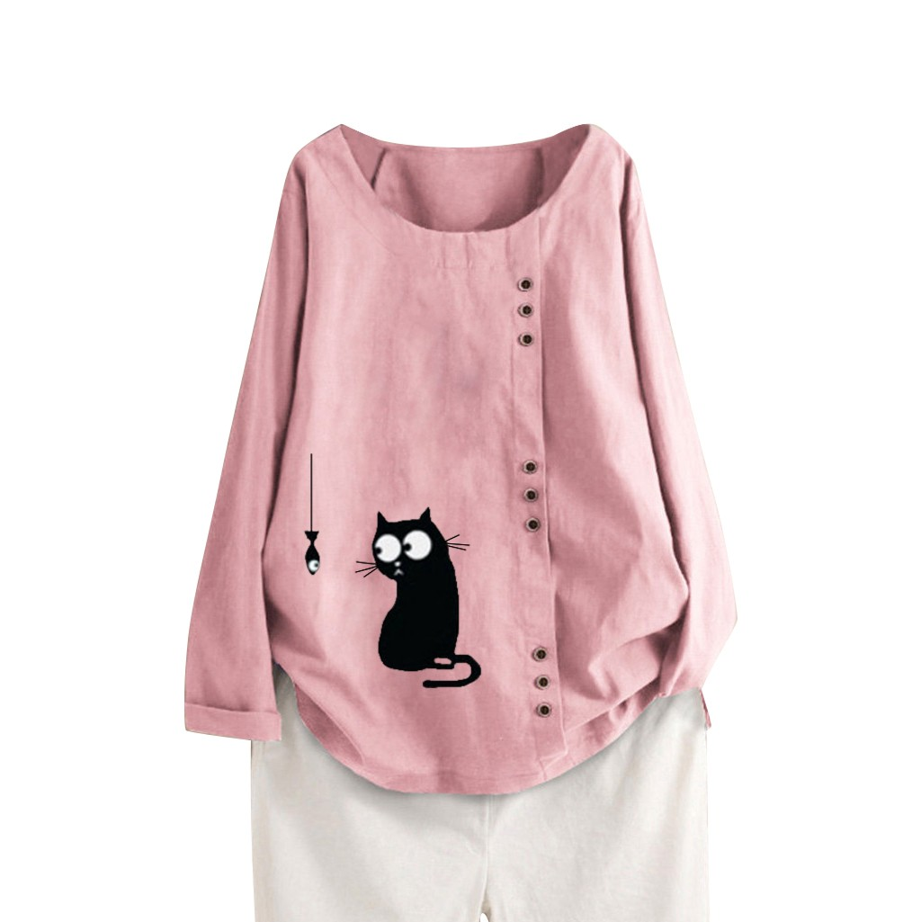 Women Loose Cat Print Plus Size Casual Beach Vintage Funny   Shirt   Tops long sleeve   Blouses   for girls women   shirts   long sleeve