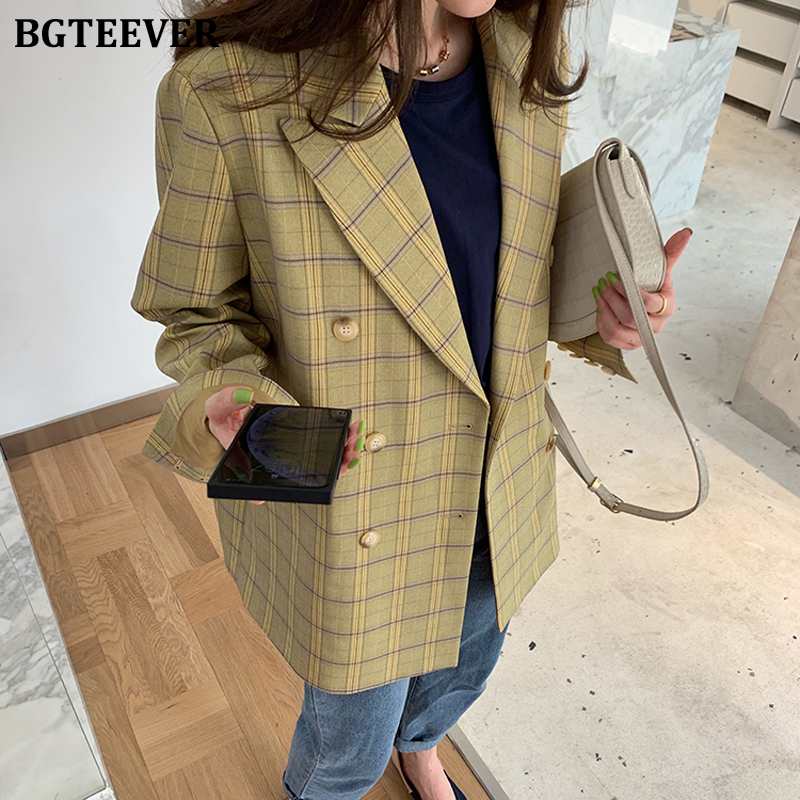 BGTEEVER Office Ladies Plaid Women Blazer Double Breasted Blazer Jacket Femme 2020 Spring Vintage Loose Female Suits Jacket