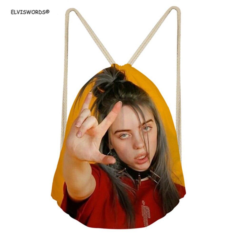 ELVISWORDS спортивные сумки на шнурке Billie Eilish, рюкзаки с принтом, спортивная сумка для подростков, сумки с принтом на заказ, женские сумки для