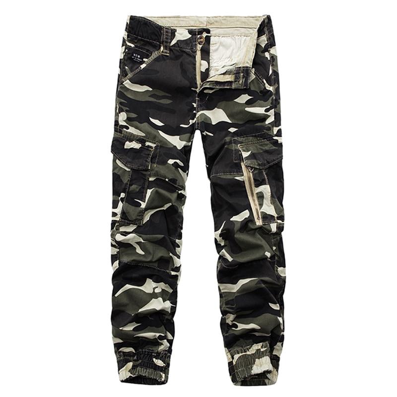 New Men Casual Cargo Pants Mens Camo Overalls Pants Zipper Work Pants Loose Multi Pocket Camouflage Trousers Plus Size 29-38
