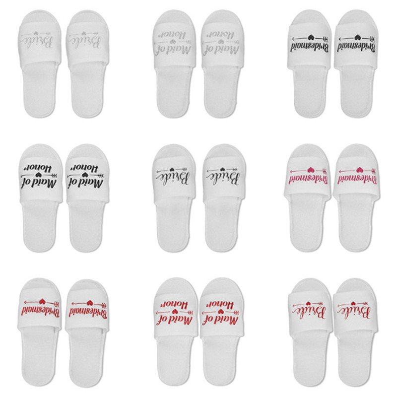 1 Pair Bride To Be Disposable Soft Slippers Wedding Decoration Team Groom Bachelor Party Team Bridesmaid Hen Night Slippers -C