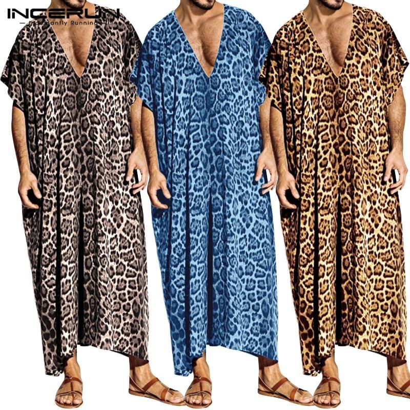 INCERUN Fashion Leopard Print Men Robes Sleepwear Short Sleeve Casual Homewear V Neck Loose Bathrobes Men Muslim Kaftan Clothes