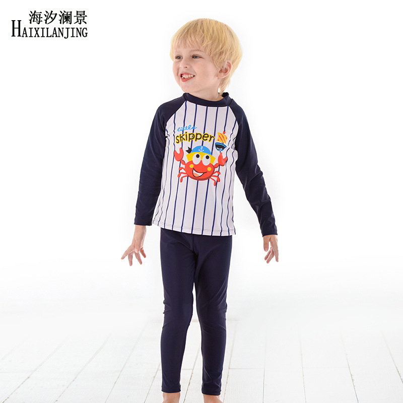 Hai Xi Lan Jing 2019 New Style KID'S Swimwear Big Boy 3-12-Year-Old BOY'S Swimsuit Long Sleeve Trousers Sun-resistant Split Type