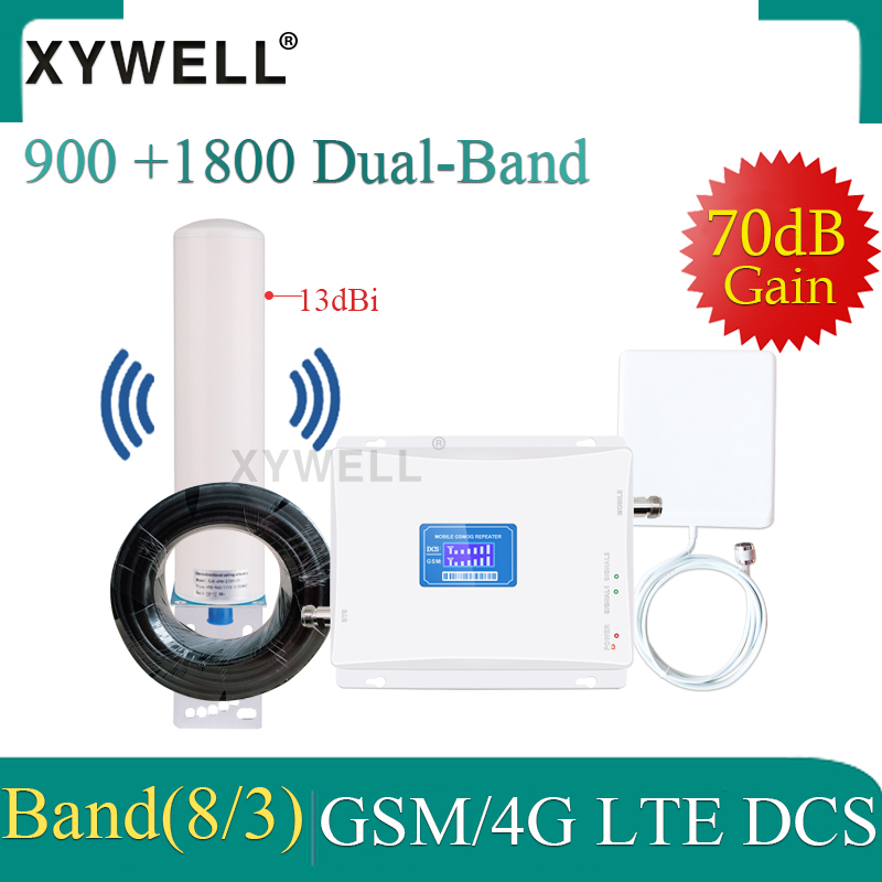 Cellular Amplifier Dual Band 900 1800 DCS 4G Signal Booster Gsm Repeater 2g 3g 4g Mobile Signal Booster Cellular Signal Booster