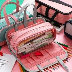 ホット多機能鉛筆バッグ防水オックスフォード鉛筆ケース取り外し可能なペンバッグ学校化粧品ケース洗浄バッグ