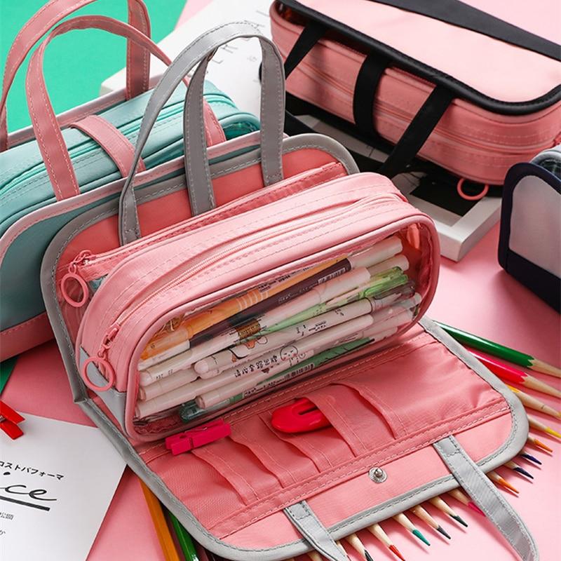 HOT Multifunctional Pencil Bag Waterproof Oxford Pencil Case Detachable Pen Bag For School Cosmetic Case Wash Bag