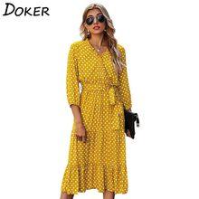 Женское платье миди в горошек, Весенняя мода, три четверти, v-образный вырез, с поясом, элегантные женские повседневные пляжные платья в стил...