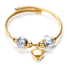 Bangles Wire-Bracelets Cross-Twisted-Cable 316l-Stainless-Steel Charm Jewelry Glass Heart