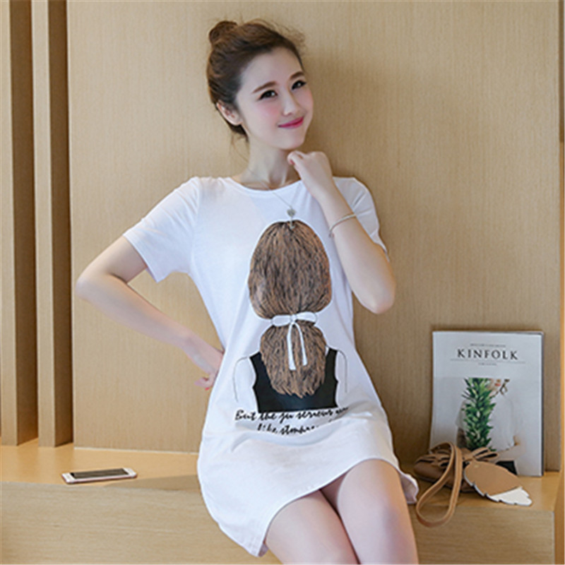 2018 New Style Mid-length Nightgown T-shirt Women's Summer Korean-style Loose-Fit Slimming Printed A- Line Skirt Hipster Large S