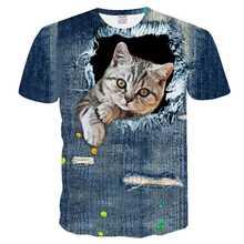 Camiseta informal con estampado 3D de gato, camiseta de manga corta transpirable, para mujer, 2021