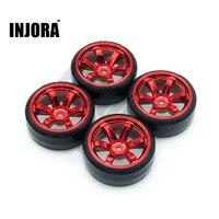 INJORA 4Pcs 1/10 Drift Car Tires Hard Tyre for Traxxas Tamiya HPI Kyosho On-Road Drifting Car Spare Parts 1