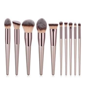 4-14pcs Champagne Makeup Brushes Set Foundation Powder Blush Eyeshadow Concealer Lip Eye Make Up Brush Cosmetics Beauty Tools недорого