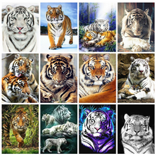 HUACAN 5D Diamond Painting Tiger Full Square Mosaic Animal Handmade Gift Embroidery Sale Home Decor Gift