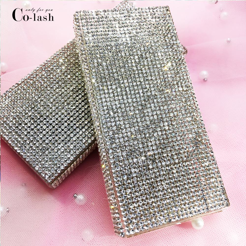 Colash Wholesale Diamond False Eyelash Packaging Box Fake 3d Mink Eyelashes Boxes Faux Cils Magnetic Case Lashes Empty
