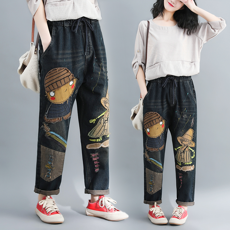 Women Spring Autumn New Arrival Fashion Ankle Length Elastic Waist Vintage Style Oversized Harem Pant Cotton Patchwork  Jeans
